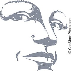 Facial expression, hand-drawn illustration of face of girl...