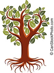 Vector art illustration of branchy tree with strong roots....