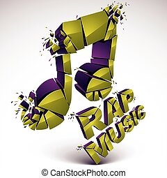 Green 3d vector musical note created from refractions isolated on white. Three-dimensional transform music theme design element. Rap music theme.