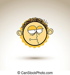 Vector hand drawn cartoon melancholy boy. Web avatar theme...