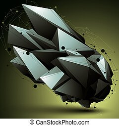 3D mesh modern stylish abstract construction, origami facet...