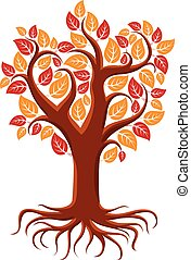 Vector art illustration of branchy autumn tree with strong...
