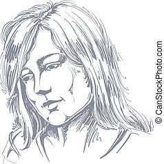 Hand-drawn portrait of white-skin sorrowful woman, sad face...