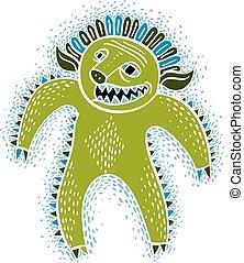 Vector cool cartoon monster, simple weird creature, green...