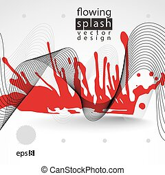Splattered web design element, art ink blob, bright...