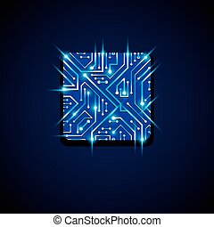 Collection of vector microchip design, cpu. Information...
