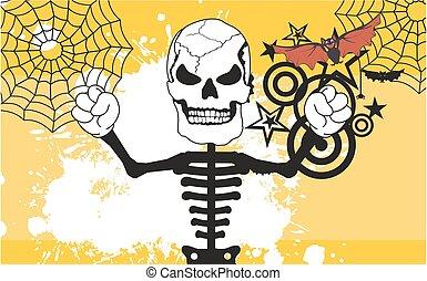zangado, dia das bruxas, esqueleto, fundo, caricatura