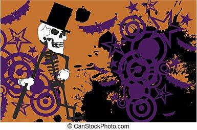 elegante, dia das bruxas, esqueleto, fundo, caricatura