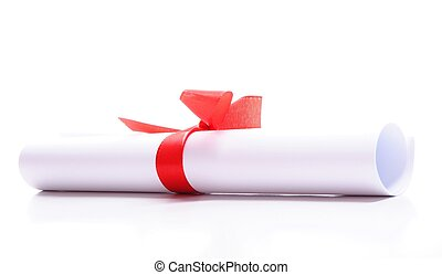 diploma isolated on a white background with copyspace for...