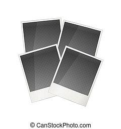 Four realistic polaroid photo frame on white - Four...