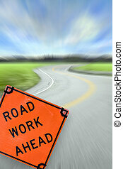 Road Work Ahead Concept - Colorful abstract illustration of...