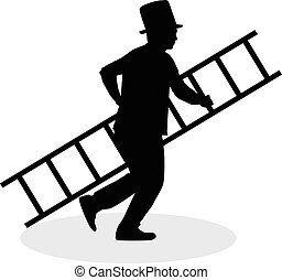 Chimney sweep with a ladder . Black silhouette.