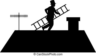 Chimney sweep with a ladder on the roof.