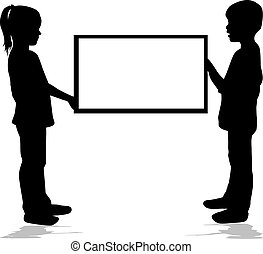 Two children with the poster, black silhouettes conceptual.