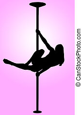 Pole Dancing - Sexy silhouette of young girl