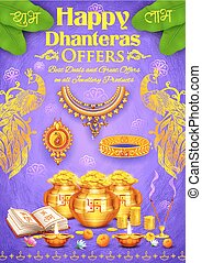 Golden diya with pot of god coin on Happy Diwali Dhanteras...