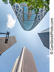 High skyscrapers of Shinjuku, Tokyo. View from the street, business concept