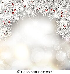 Silver Christmas tree branches and berries on bokeh lights background