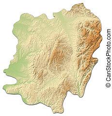 Relief map - Caras-Severin (Romania) - 3D-Rendering - Relief...