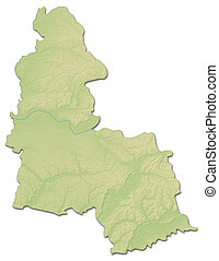 Relief map - Sumy (Ukraine) - 3D-Rendering - Relief map of...