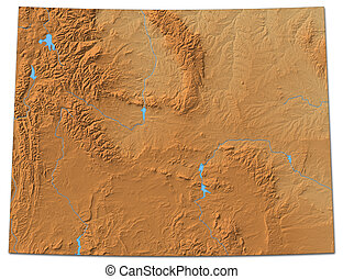 Relief map - Wyoming (United States) - 3D-Rendering