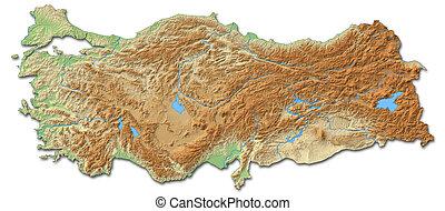 Relief map - Turkey - 3D-Rendering