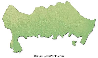 Relief map - Blekinge County (Sweden) - 3D-Rendering -...