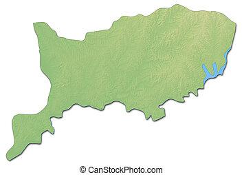 Relief map - Rio Negro (Uruguay) - 3D-Rendering - Relief map...