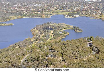 aerial view Lake Burley Griffin - aerial view of Lake Burley...