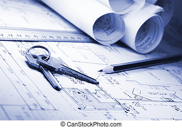 architect plans - architect drawn plans with keys to...