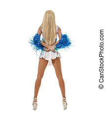 Back view of slim leggy blonde posing with pompons. Isolated...