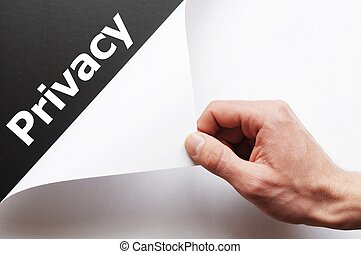 privacy concept with hand word and paper