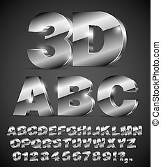 alphabet vector font - 3D isometric alphabet vector black...