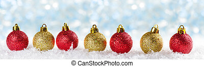 Christmas background with Christmas balls . Panoramic image
