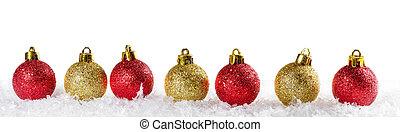 Christmas background with Christmas balls . Panoramic image