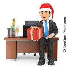3D Businessman handing a business gift
