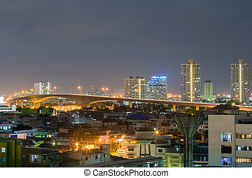 River Bridge Rama III Bridge. Bangkok city at night with the...