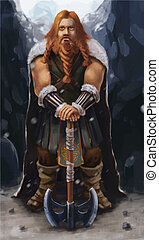 Scandinavian viking with ax on the mountain, realistic...