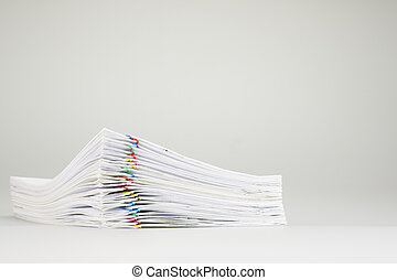 Pile overload of paper place on white background - Pile...