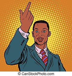 African American businessman pointing finger up, pop art...