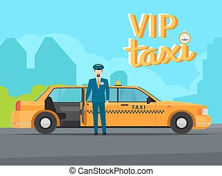 Vip taxi service illustration - Vip taxi service with yellow...