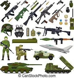 Military army flat icons