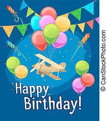 Children happy birthday card with balloons