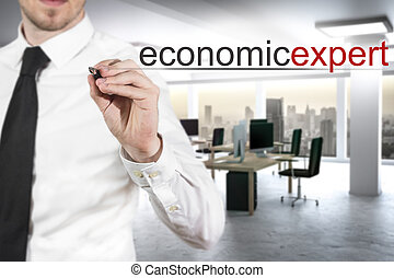 businessman writing economic expert in the air - businessman...