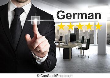 língua, alemão, botão, Empurrar, cinco, estrelas, homem...