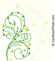 Flower card with butterfly