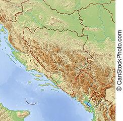 Relief Map of Bosnia and Herzegovina - 3D-Rendering - Relief...