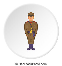 Soldiers in uniform with bag icon, cartoon style - Soldiers...