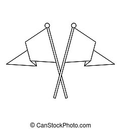 Two crossed flags icon, outline style - icon in outline...