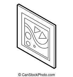 Picture in a frame icon, outline style - icon in outline...